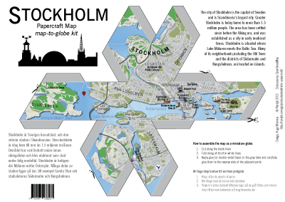 Stockholm papercraft foldable map kit